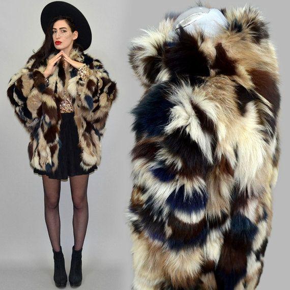 Vestido de Vintage arco iris Multicolor Arctic FOX cola franja Batwing chaqueta capa capa de piel Shaggy Poncho Festival étnico borla Boho Hippie L