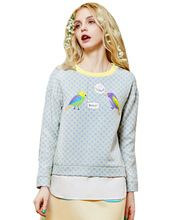 Elf SACK 2016 brand spring female polka dot jacquard letters print sweatshirts free shipping(China (Mainland))