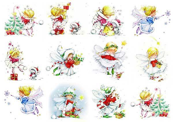 Декупажная карта А4 Зима. Новый год. Рождество. Зимняя фея.