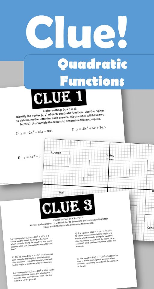 A quadratic function take on the classic game of clue! Can you solve the clues to determine the suspect, accomplice, room and weapon?  Students will work through 4 clues: Your students will use knowledge of finding a vertex, factoring, using the quadratic formula, solving word problems and graphing parabolas. Students will record their answers on their clue sheet to reveal the final solution.