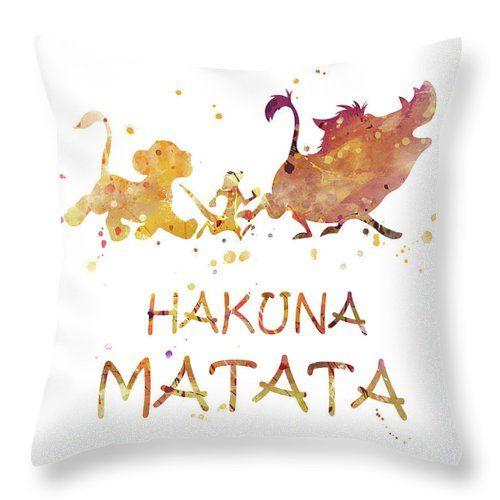 Hakuna Matata Throw Pillow for Sale by Monn Print