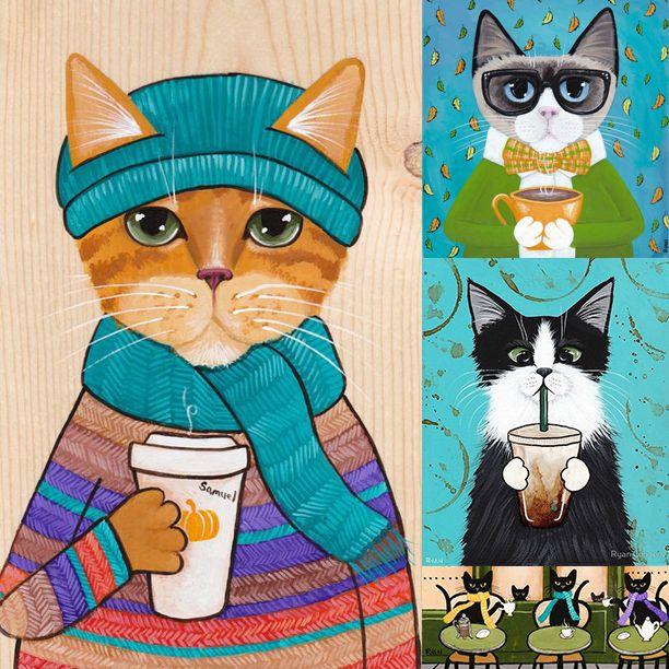 Тема кофе и котиков неисчерпаема. Художница Раян Коннерс рисует четырехлапых любителей кофе в любое время года.    «Здравствуйте! Я Райан Коннерс, народный художник который живет в Портленде, штат Орегон. У меня двое прекрасных детей: Тиарнан Смари и Анна Сиобан, а также шесть красивых кошек: Пади, Мерлин, Далия, Бомбей и ее детки Карбон и Вайлет! Я сама рисую, мастерю кукол, разные бумажные штуки и другие вещи ...» Блог художницы тут: http://catfolkartbyryan.blogspot.com/ #кофе #coffee…