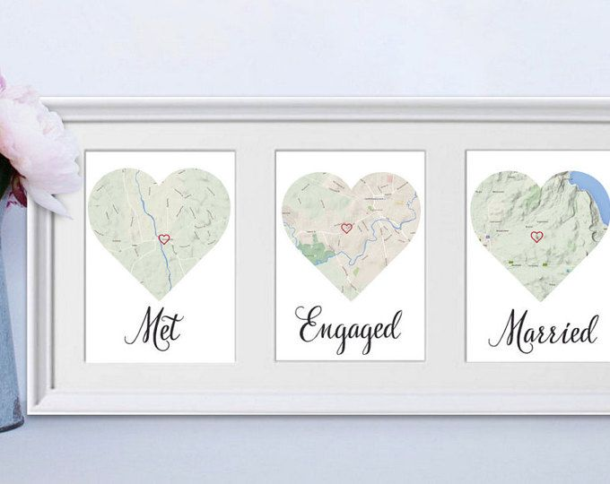 A thoughtful love story frame that details where couples met, were they got engaged, and where they got married. This makes for the perfect Wedding/ Anniversary/ Engagement gift!  (Wording can be changed to suit eg. Met, First Date, Fell in Love, Honeymoon, Lived or Engaged) just specify in the note section :).   Dimensions of frame: 52x25cm  Maps can be zoomed in to specific street addresses or zoomed out to states/ country as per images shown. Please advise which you prefer. Once locations…
