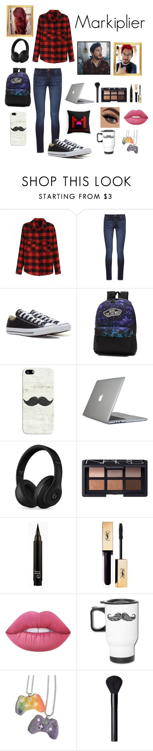 """Markiplier inspired outfit"" by geekyoutfits101 ❤ liked on Polyvore featuring DL1961 Premium Denim, Converse, Vans, Casetify, Speck, Beats by Dr. Dre, NARS Cosmetics, Lime Crime, Penumbra and youtube"