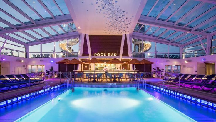 Immediately next to the main pool, moving towards the front of the ship, is the indoor pool which is slightly deeper at 1.6 metres (5 feet 3 inches) and has a retractable roof for warm days and is available for families to use. Although it is right next door to the main pool, it is self-contained and therefore a quieter option for people who want to laze and read in between the occasional dip.