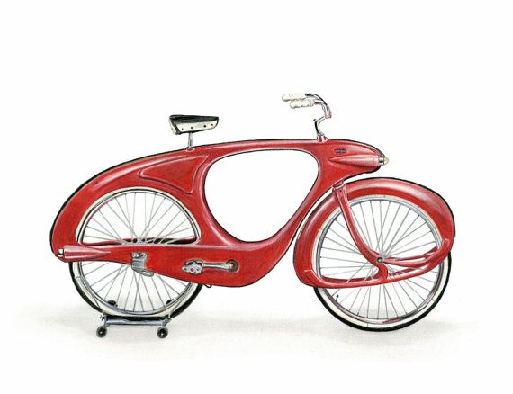 SPACELANDER BIKE - Unframed  Who doesn't love classic bicycles? Crayola colored…