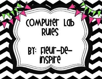 Black and White Chevron Computer Lab rules