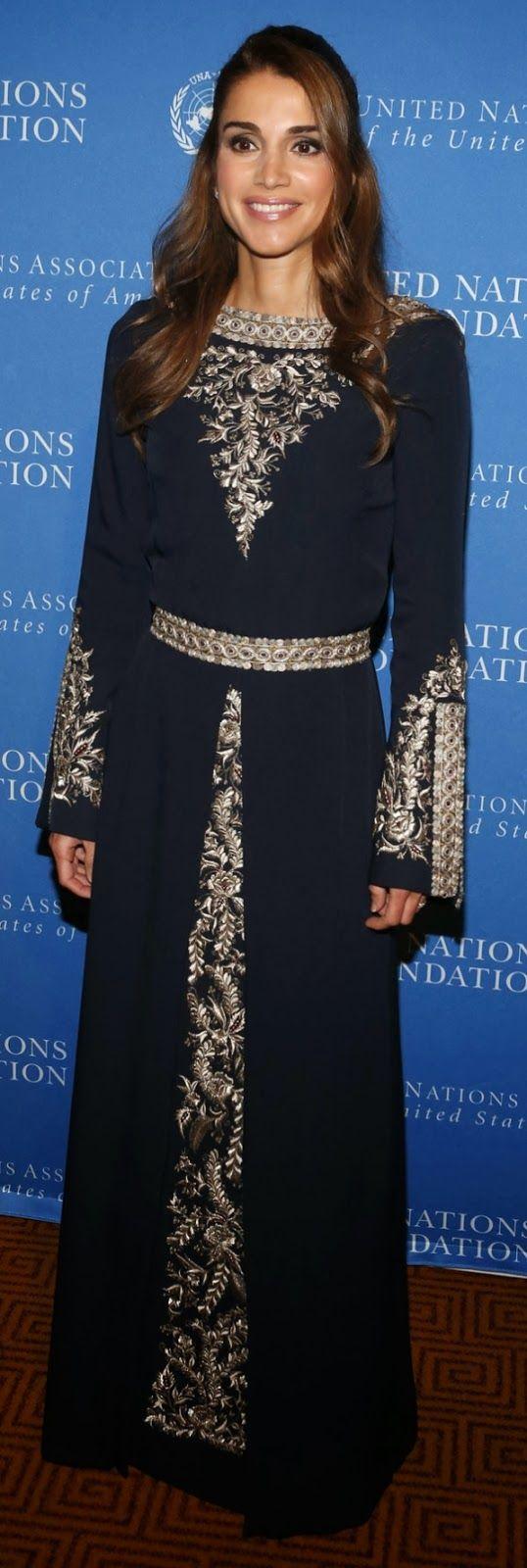 Queen Rania of Jordan wearing a kaftan
