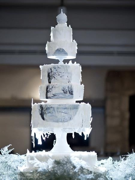 Winter wonderland hand-painted wedding cake
