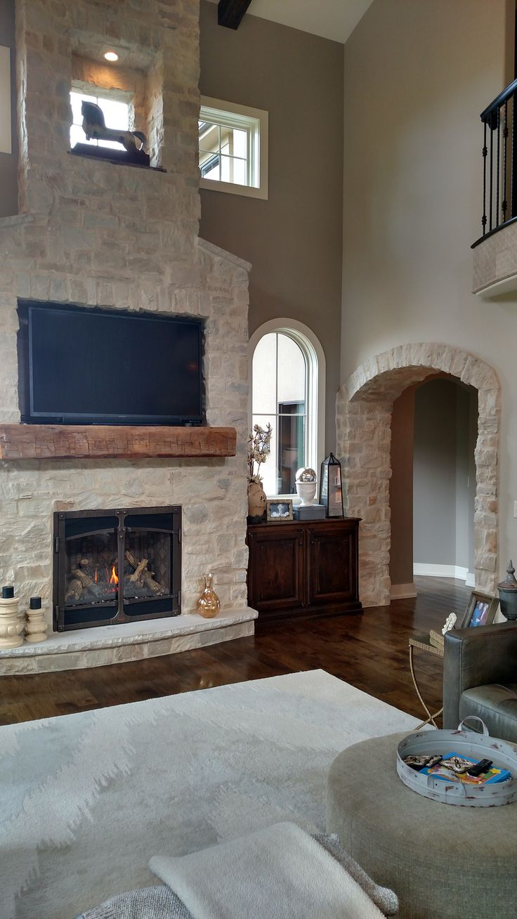 Stone Veneer Fireplace And Archway Profiles Country
