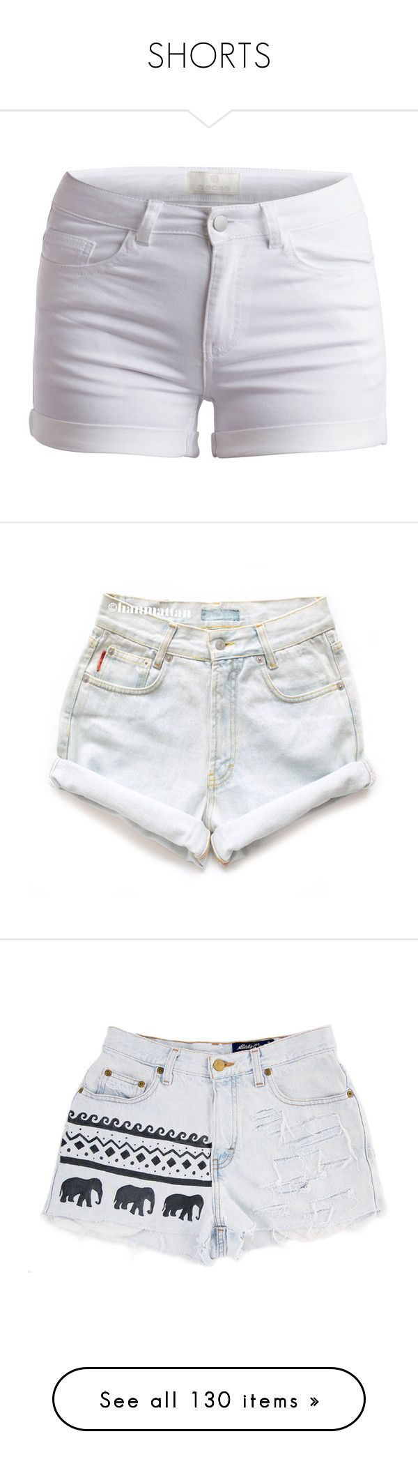 """""""SHORTS"""" by dearxadriana on Polyvore featuring black, shorts, jeanshorts, multicolored, distress, bottoms, pants, short, bright white and fold over shorts"""