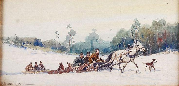 Adam SETKOWICZ (1876-1945)  Saniami przez śniegi akwarela na podrysowaniu ołówkiem, papier żeberkowy naklejony na tekturę; 16 x 31,5 cm;