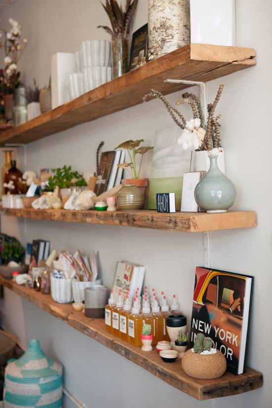 I love these wood floating shelves.