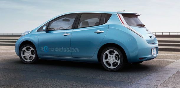 The Nissan Leaf is a medium-size all-electric hatchback that seats five adults and has a range of 100 miles.