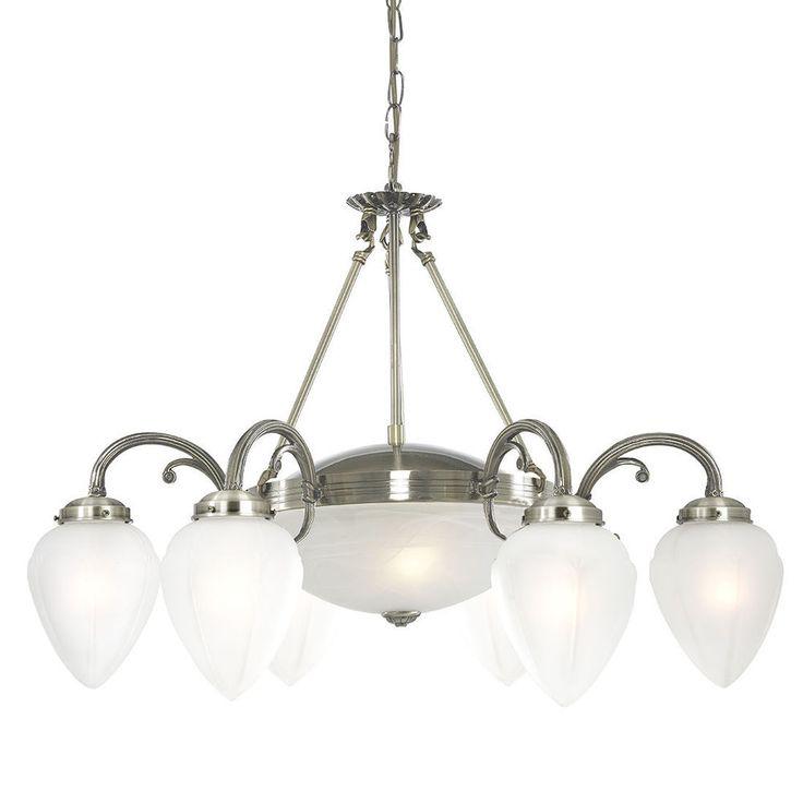 Searchlight 1998 8AB Regency 8 Light Ceiling Fitting Antique Brass Glass From Dushka Ltd