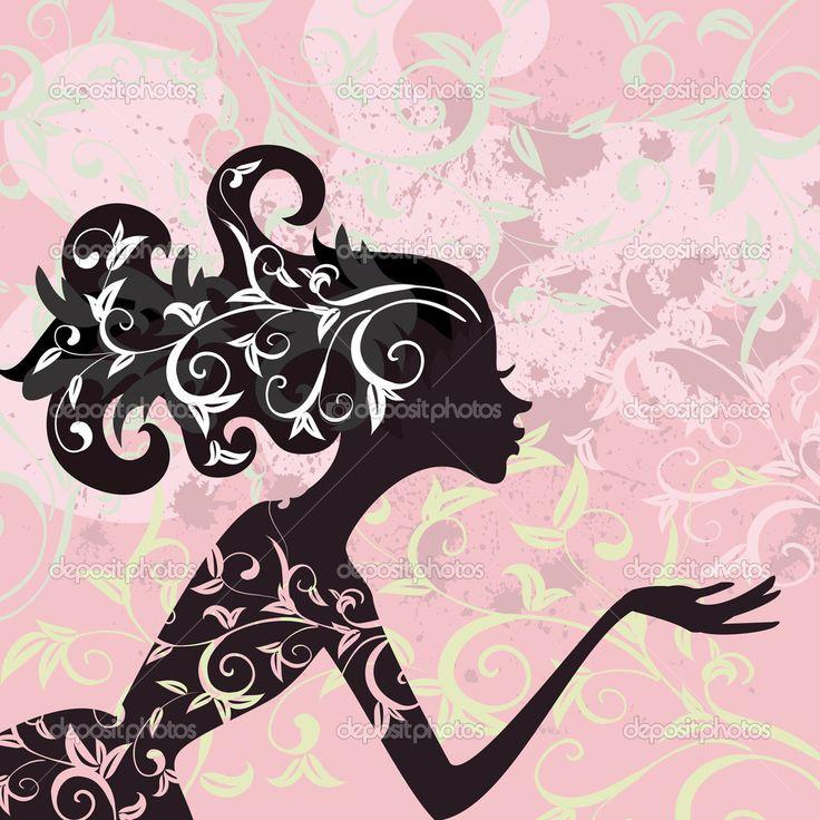 Гламур девушки волосы орнамент — Стоковая иллюстрация #4486381