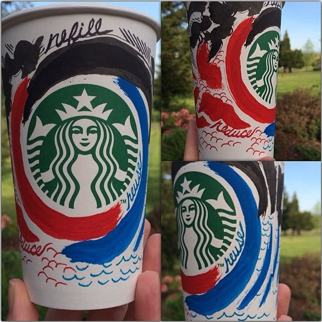 """""""Reduce, Reuse Refill"""" Cup I drew for @Starbucks Loves White Cup Contest"""