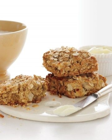 These scones are light and healthful yet hearty. Fresh apple keeps them moist, buttermilk contributes tenderness, and oats add a pleasantly toothsome texture.