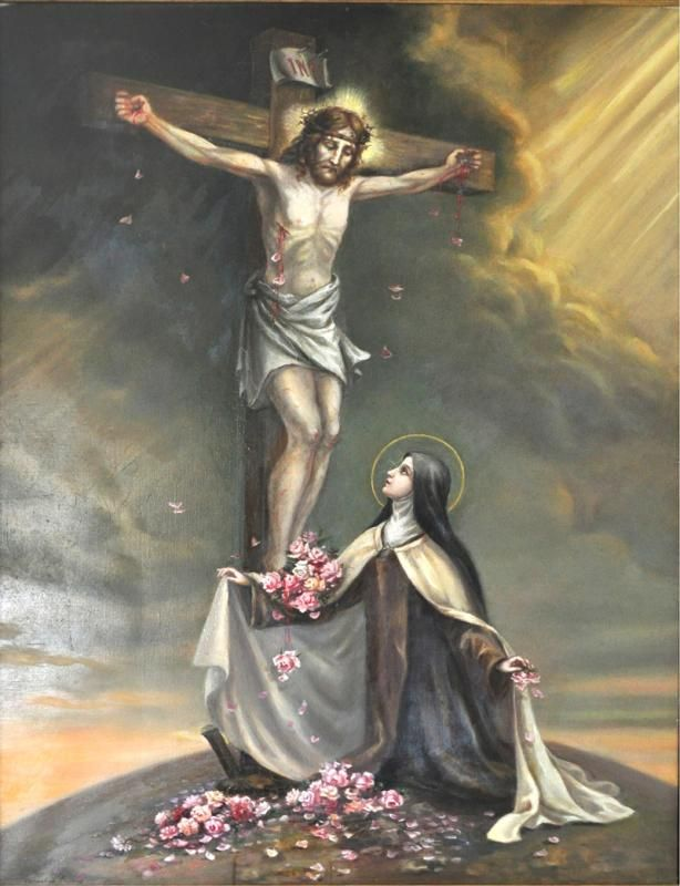 St. Therese as painted by her sister, Sister Marie of the Holy Spirit, Celine Martin ....TABLEAU Thérèse au pied de la croix