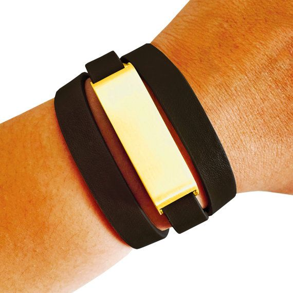 Fitbit Bracelet for FitBit Flex - The KATE Brushed Gold and Black Premium Vegan Leather Buckle Fitbit Bracelet - Free U.S. and Canada