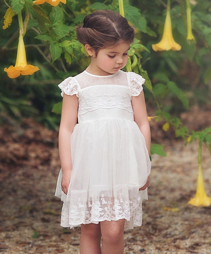 Another great find on #zulily! White Lace Accent Angel-Sleeve Dress - Toddler & Girls by Trish Scully Child #zulilyfinds