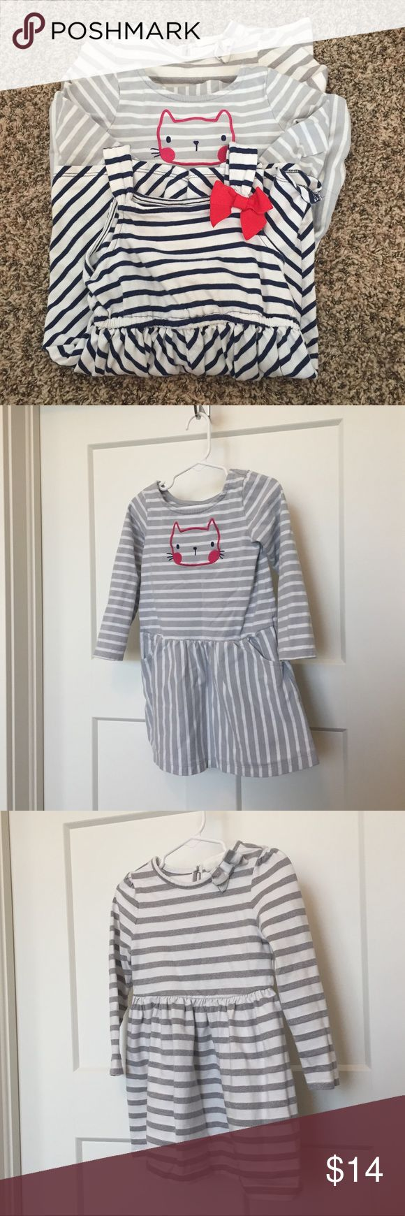 Lot of 2 Gymboree & one Crazy 8 size 3T dresses Red white and blue chevron dress & grey and pink kitten dress by Gymboree. White and silver sparkle dress by Crazy 8. All in gently used condition and from and smoke and pet free home. Gymboree Dresses