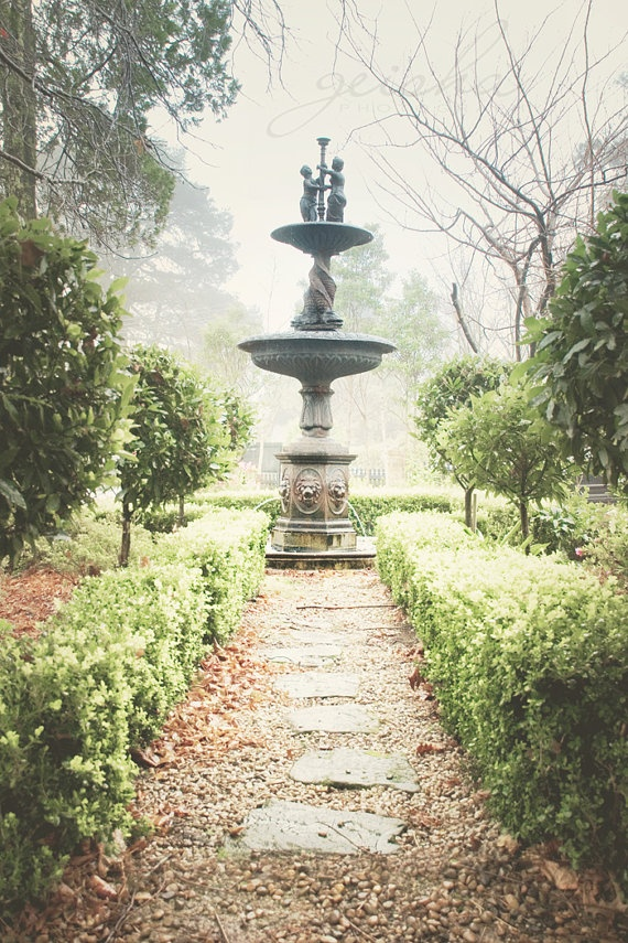 Items Similar To English Garden Photograph Formal Garden Vintage Inspired  Fountain Hedges Green Classical Fine Art Topiary On Etsy
