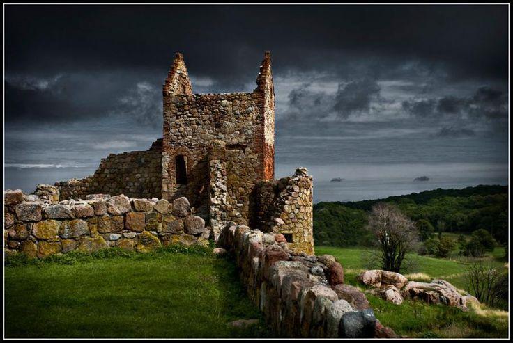 Ruins of Hammershus, Bornholm, an island of Denmark.