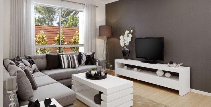 lounge room dark grey wall