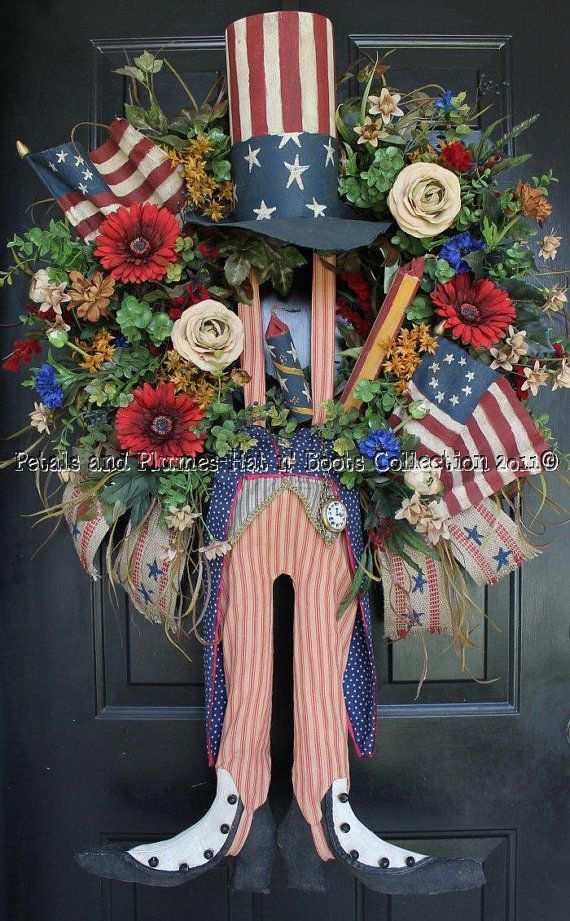 Patriotic July 4th Memorial Day Vintage Primtive Folk Art Style Spring Summer Fall Wreath Door