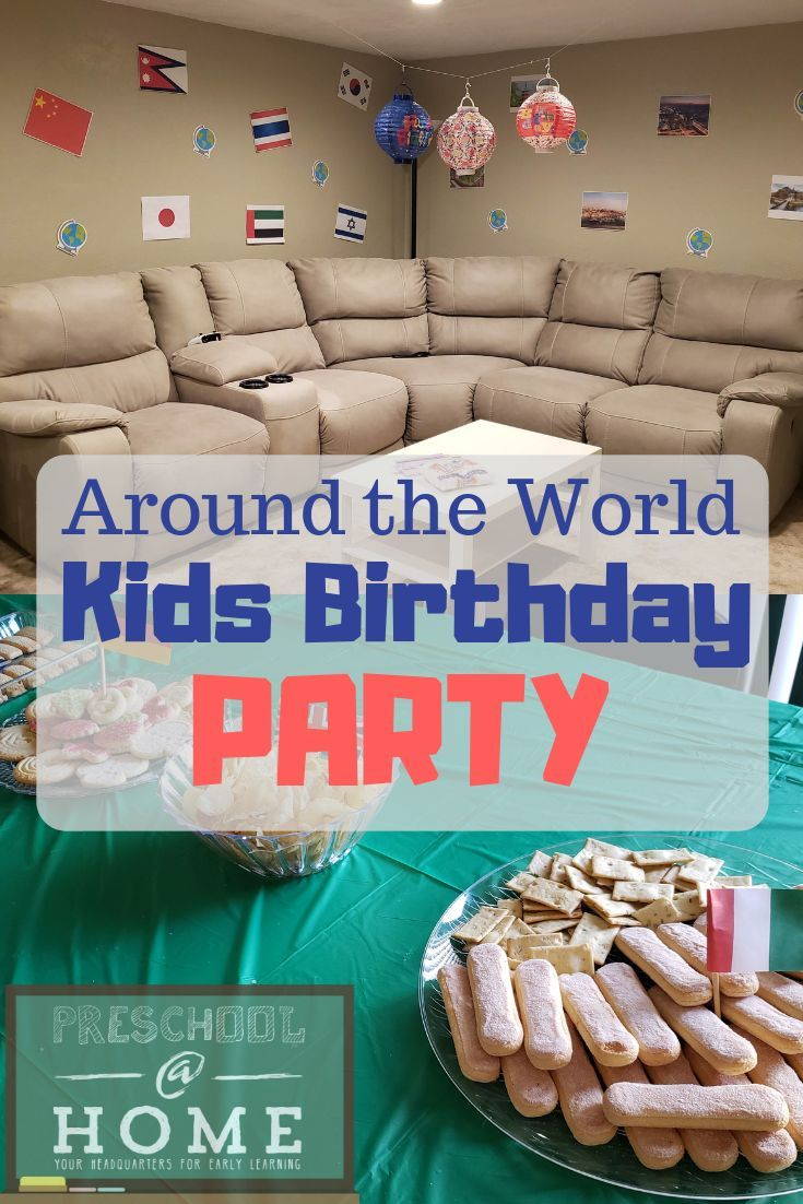 "For an easy, inexpensive, and unique birthday party, treat your guests to a trip around the world with this ""Around the World in 1 Hour"" theme."