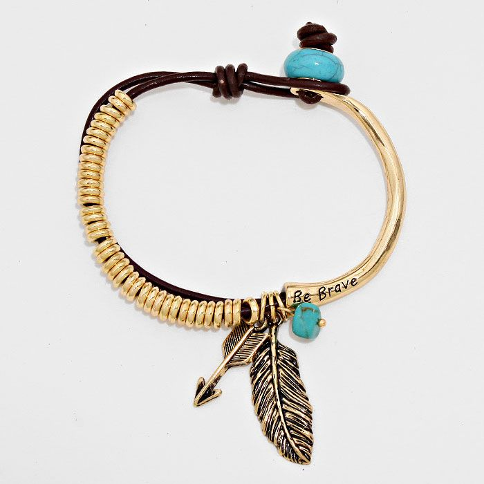 """Be Brave"" Feather & Arrow Charm Bracelet €22"