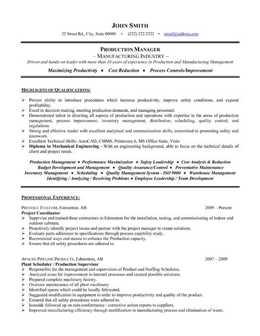 mechanical project manager resume sample - Military.bralicious.co