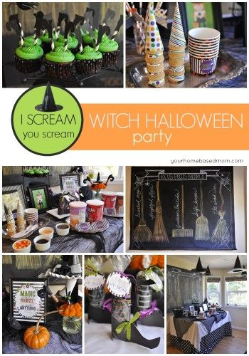 A fun Halloween Party idea featuring ice cream and witches! Lots of decor, food…