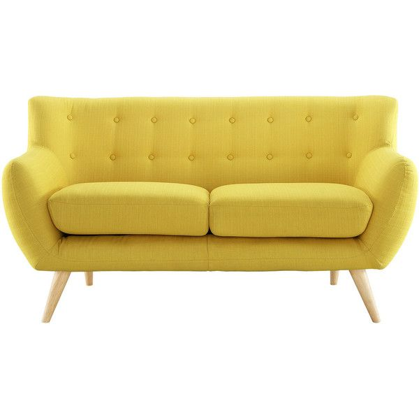 Take notice and engage your sensibilities with this plush dual cushion, organically shaped loveseat. Reverence is gracefully positioned on solid natural wood dowel legs designed according to mid-centu