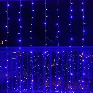 Leaf Led String Fairy Curtain Lights 300led 9.8ft 8modes Window, Wedding, Party, Christmas Decorative Light Curtain - Blue