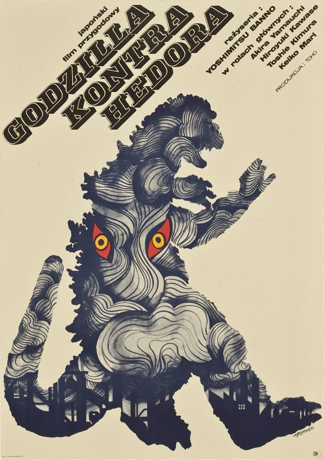 Godzilla vs. the Smog Monster (Poland, 1971) - classic Japanese monster movie posters from Poland