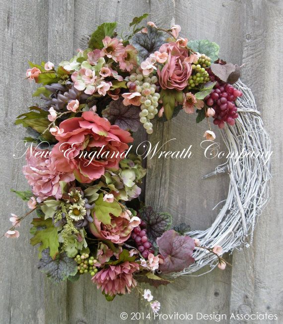 Floral Wreath, Victorian Garden Wreath, Tuscany, Country French, Summer Cottage, Fall Wreath