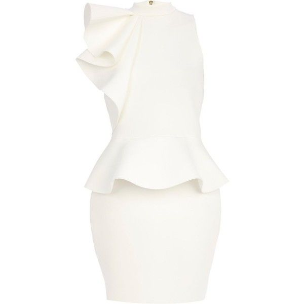 River Island White ruffle peplum pencil dress ($62) ❤ liked on Polyvore featuring dresses, white, short dress, white mini dress, short dresses, white dress, white peplum dress and white sleeveless turtleneck