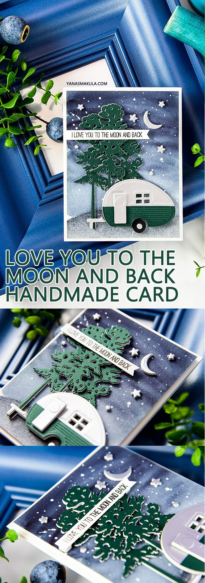 Love You To The Moon & Back Watercolor Camper Card