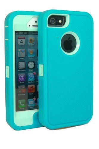 iphone 5 body armor case teal on baby blue teal comparable to otterbox defender series   bonus