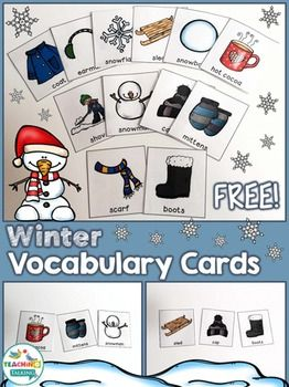 Winter Vocabulary Cards (Freebie!) by teachingtalking.com