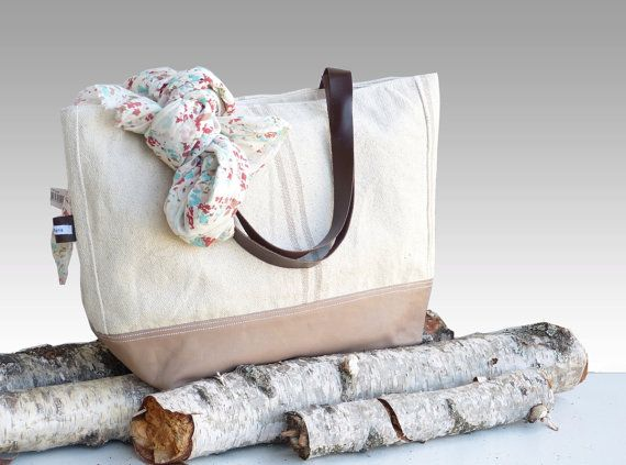 LARGE Eco Friendly Tote Bags  ecru white linen tote by dawnaparis, €55.00