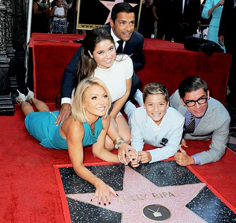 Mark Consuelos, Lola Consuelos, Kelly Ripa, Joaquin Consuelos and Michael Consuelos at the Kelly Ripa Star Ceremony