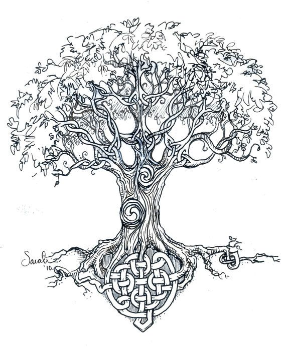 Celtic tree knots - art print or tattoo art. $35.00, via Etsy.