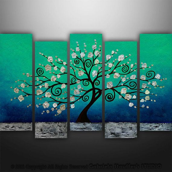 CUSTOM PAINTING Abstract Modern Landscape Tree Asian Art by Gabriela 50x30 Metallic Large on Etsy, $299.00