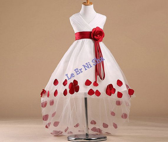2014 new red flower girl dress dreamy rose princess by chinamaker, $75.00