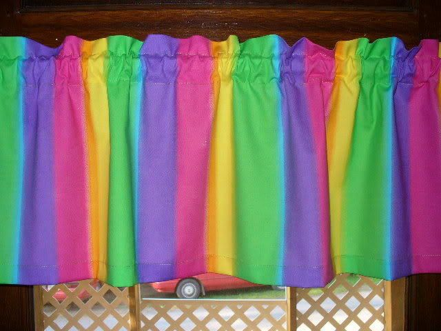 Rainbow Lime Green Pink Purple Ornage Yellow fabric curtain topper Valance #Handmade
