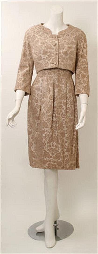Hattie Carnegie brocade dress and jacket 1950s