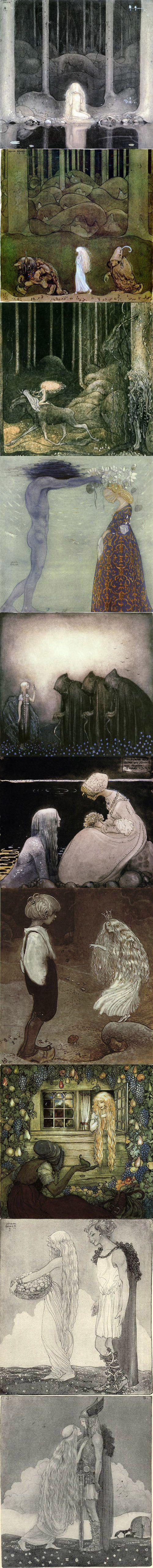 John Bauer(1882 - 1918)生于瑞典的火柴之都延雪平(Jönköping),自幼就显示出极高的艺术天赋,十六岁时来到斯德哥尔摩学习绘画,两年后进入瑞典皇家艺术学院。他的插画广受欢迎,与那些美丽的民间故事一起陪伴无数孩子度过了他们童年的美好时光。